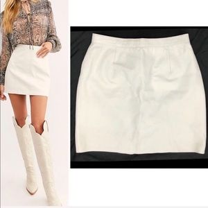 Vintage White High Waist Genuine Leather Skirt XS